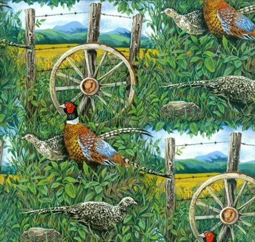 PHEASANTS COUNTRY LANDSCAPE FABRIC