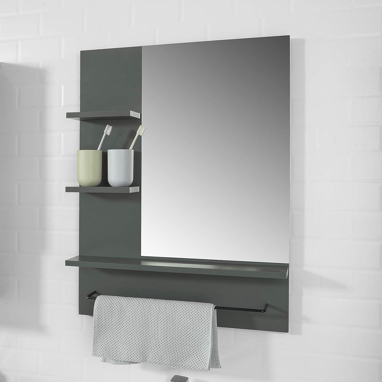 SoBuy Spiegel Wandspiegel Badspiegel mit Ablage Hängespigel Badmöbel BZR16-W