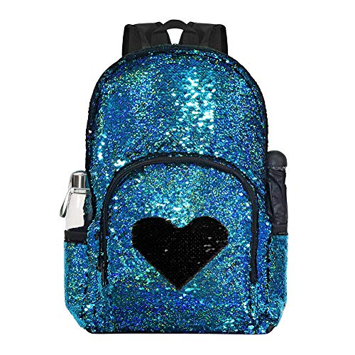 Reversible Sequin School Backpack for Girls Boys Sparkle Cute Bookbag Travel Camping Daypack Study Elementary Students Satchel with Durable Two Way Zipper, 17