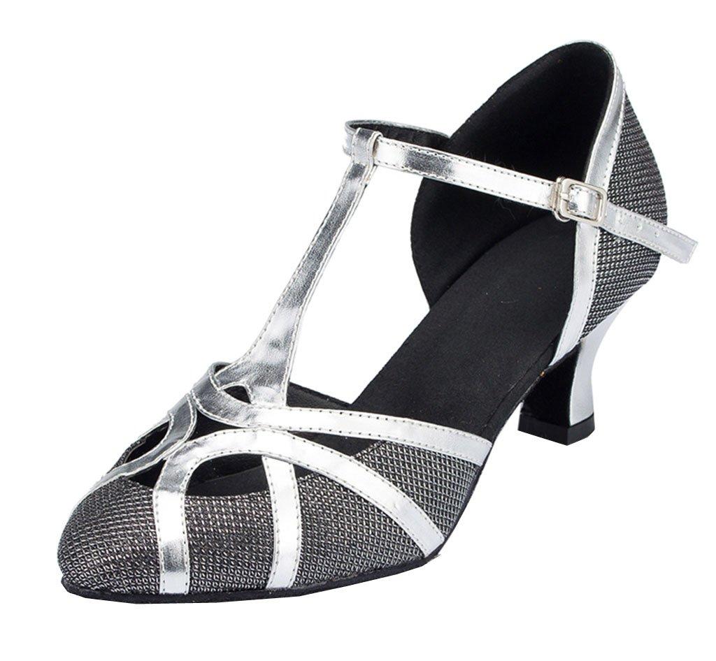 TDA Womens Mid Heel Black PU Leather Salsa Tango Ballroom Latin Party Dance Shoes CM101 6.5 M US