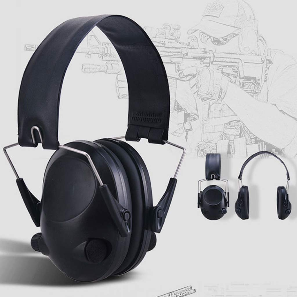 EATS Outdoor Military Electronic Hearing Protector Noise Canceling Ear Muffs Shooting Tactical Headset (Black)