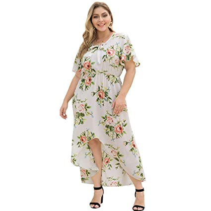 49a08834d1 Image Unavailable. Image not available for. Color: Women Tunic High Low  Dress - Ladies Elegant Plus Size ...