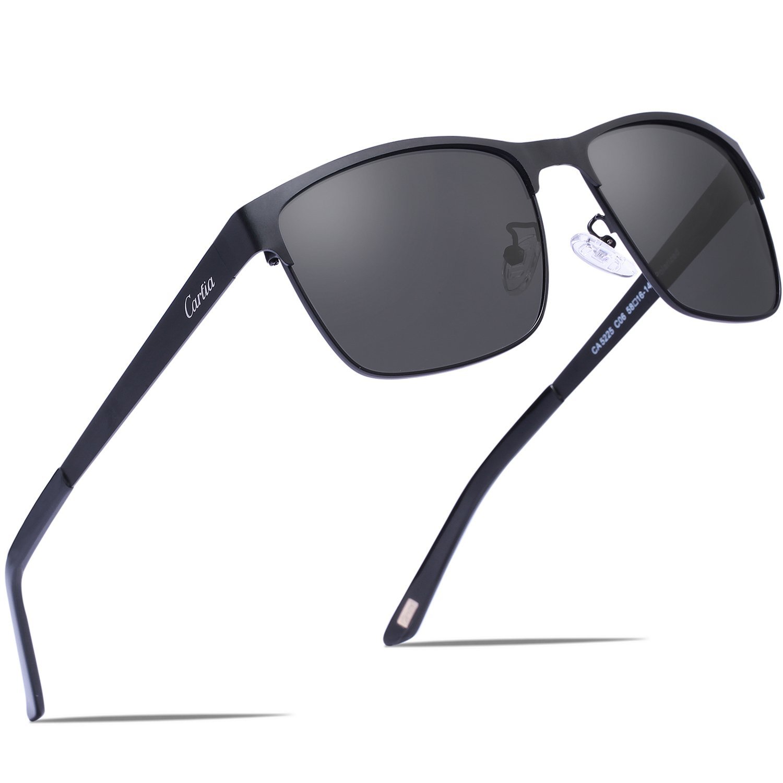 Carfia Metal Polarized Sunglasses for Men Driving Fishing Travelling Golf, Square Sunglasses 100% UV Protection