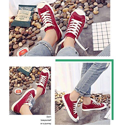 Frauen Mode Einfache Lace-up Schuhe Student Casual Flache Schuhe Bequeme Low-Rise Schuhe Outdoor Sportschuhe ( Farbe : Rot , größe : 37 ) Rot