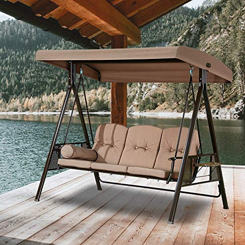 PURPLE LEAF Deluxe Outdoor Patio Porch Swing with Weather Resistant Steel Frame, Adjustable Tilt Canopy, 3-Seat, Cushions and Pillows Included, Beige