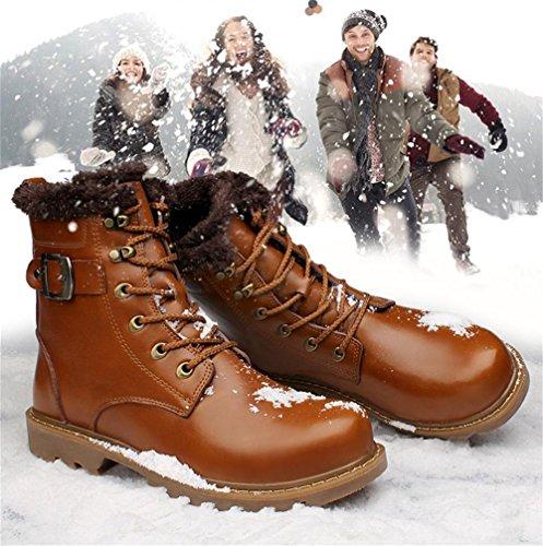 Al 41 Antideslizante Libre Cachemira Botas 41 Martín Negro Tobillo Estampación Aire Otoño Brown Invierno Grande Más Marrón Xie Zapatos Ocio Algodón Cordón Cuero Tamaño Hombres FHxUBqnaw