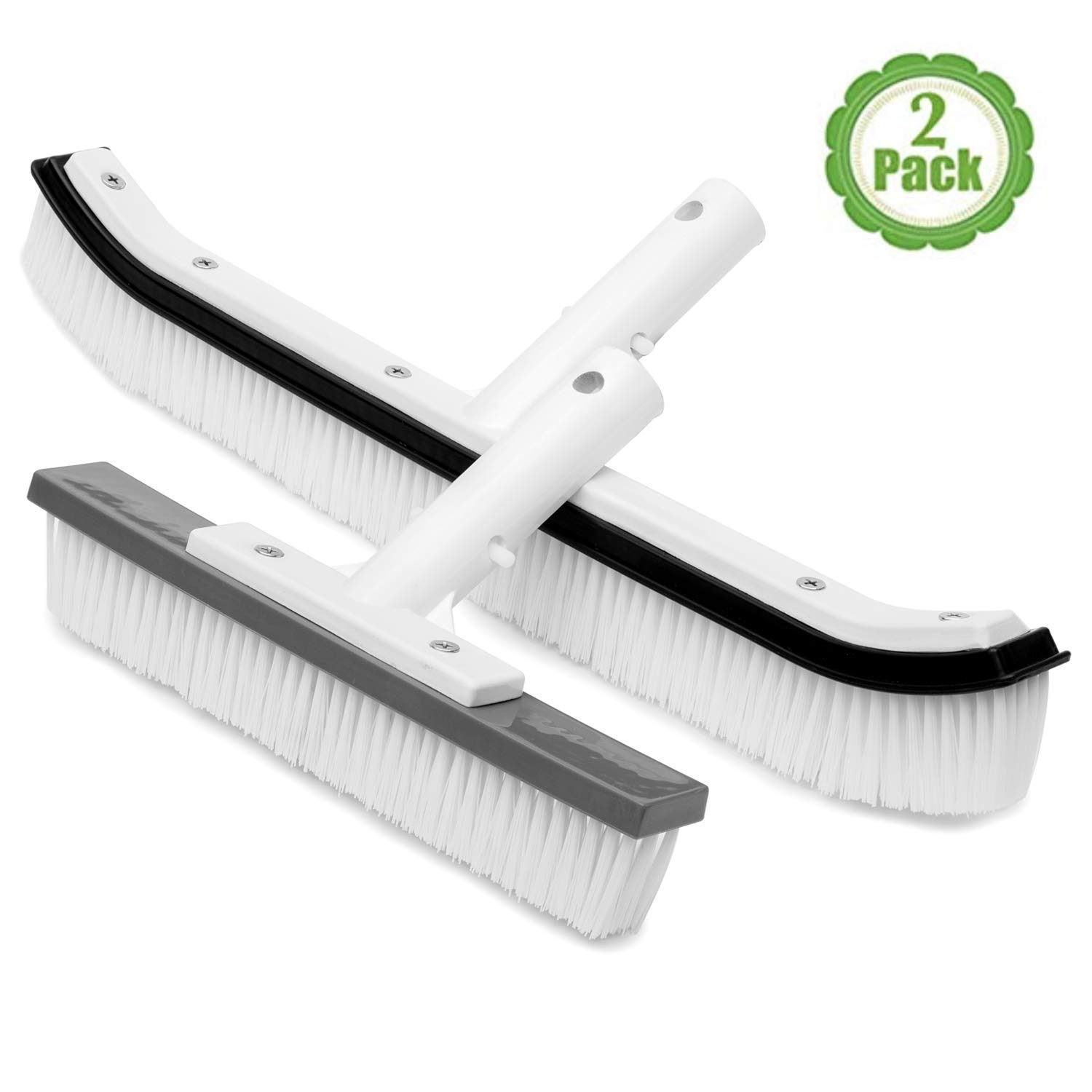 The Lazy Sharks Pool Cleaning Brush, Set of Two, Swimming Pool Brush Head for Cleaning Pool Walls, Cleaning Scrub Brush, Sizes 18 and 10 Inches by The Lazy Sharks