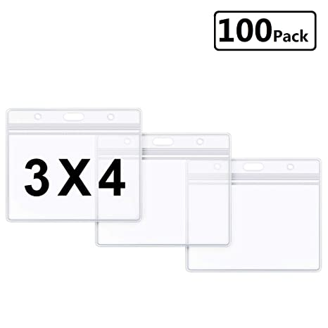 de0d470f4a37 Horizontal ID Badge Holder Clear Plastic Name Tag Holder 3x4 Waterproof ID  Card Holders by LONOVE (100 Pack, Large 3x4)