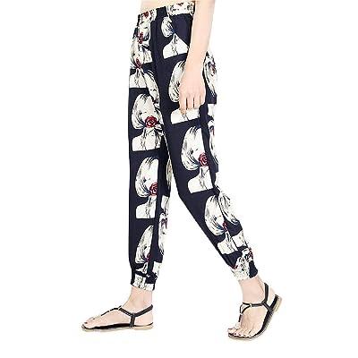 ADELINA Pantalones De Yoga para Estampado Bolsillos Casual Mujer Laterales Estampados Moda Completi Bloomers Largos Cintura Elástica Pantalones Harem (Color : Farbe# Q, Size : M): Ropa y accesorios