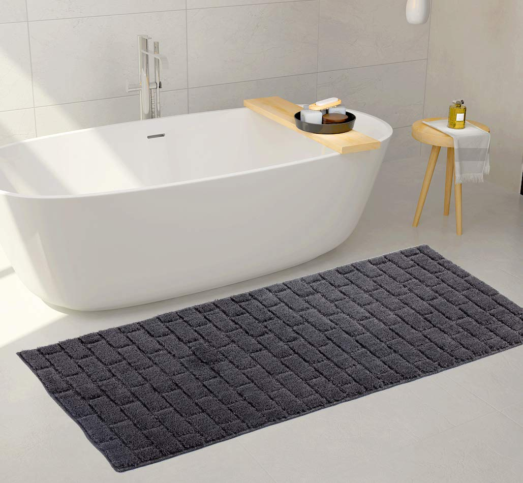 Mk Home 1pc Non-Slip Gray Runner Brick Pattern for Bathroom with Bath Rug, Contour Mat and Lid Cover New # 67