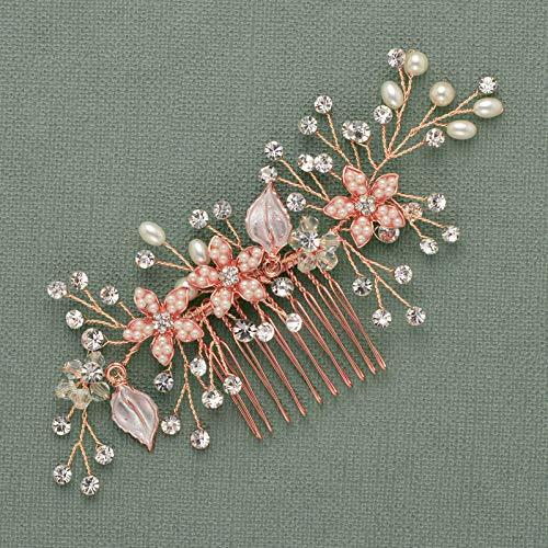 SWEETV Bridal Hair Comb Clip-Rose Gold