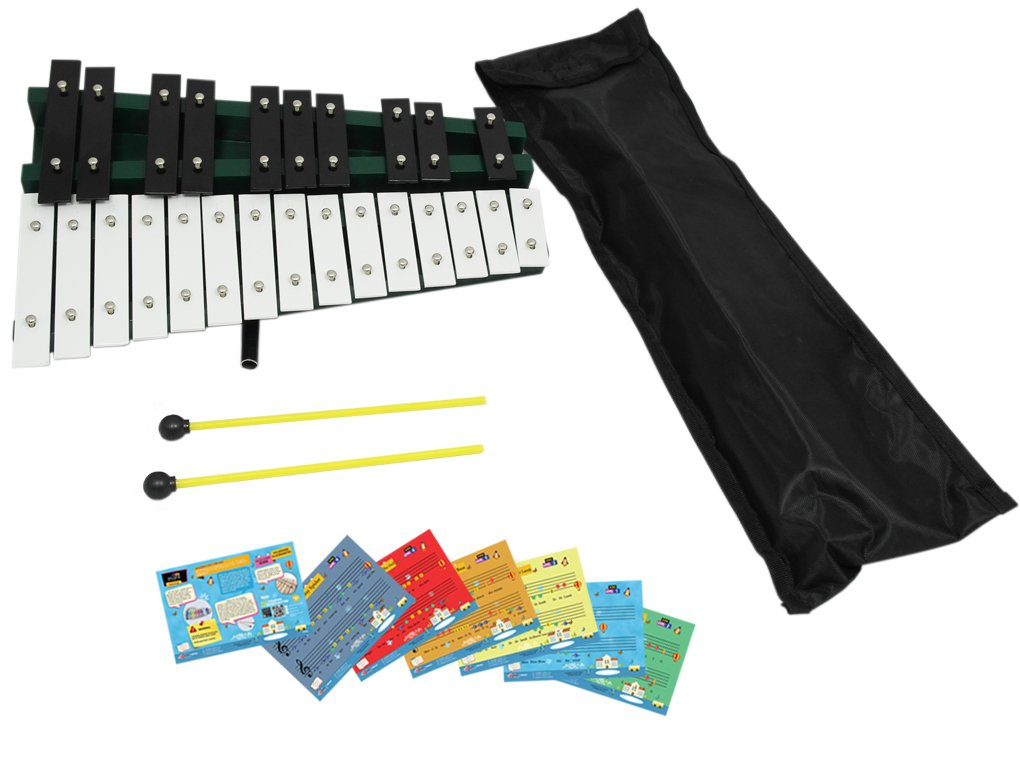 D'Luca TG25 25 Notes Full Chromatic Xylophone Glockenspiel with Stand & Music Cards D'Luca