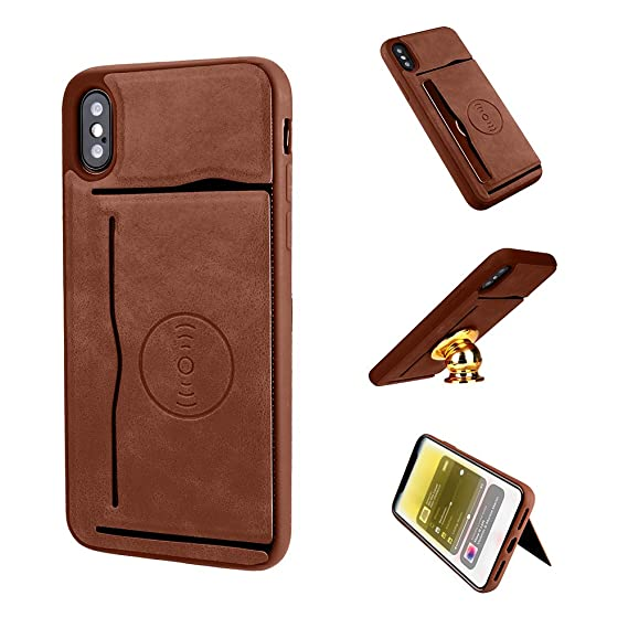 the best attitude 95eab 9ac15 iPhone X Case - Luxury Leather Ultra-Thin Case, Card-Holder,Kickstand, with  Built-In Magnetic Plate for Car Mount Support