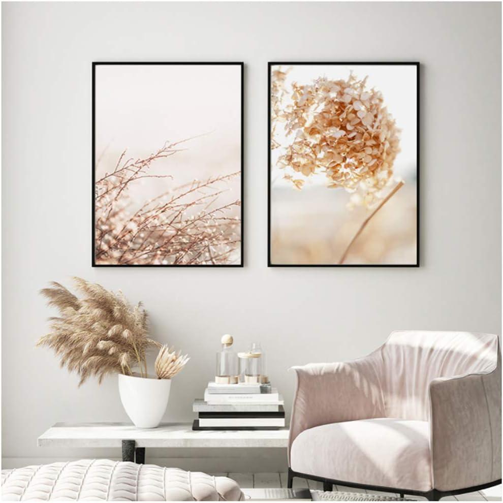 YIYAOFBH Flores de hortensias secas Modernas Plantas Ola Vida Arte de la Pared Imagen Lienzo Pintura Cartel Impresiones para la Sala de Estar Decoración del hogar 50x70cm (19.7