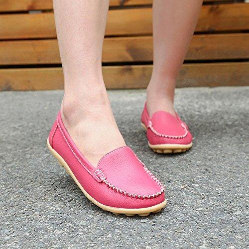 De Rose Mocassins Loafers Plates Gesimei Cuir Bateau Confort Rouge Loisir Chaussures Conduite Femmes YxqHFwBxg