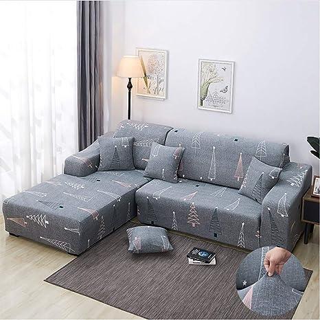 Funda Sofa Chaise Longue, Tejido Elástico Extensible Antideslizante de Todo Incluido Sofá Extraíble Cubrir Cuatro Estaciones Universal + 1 pcs ...
