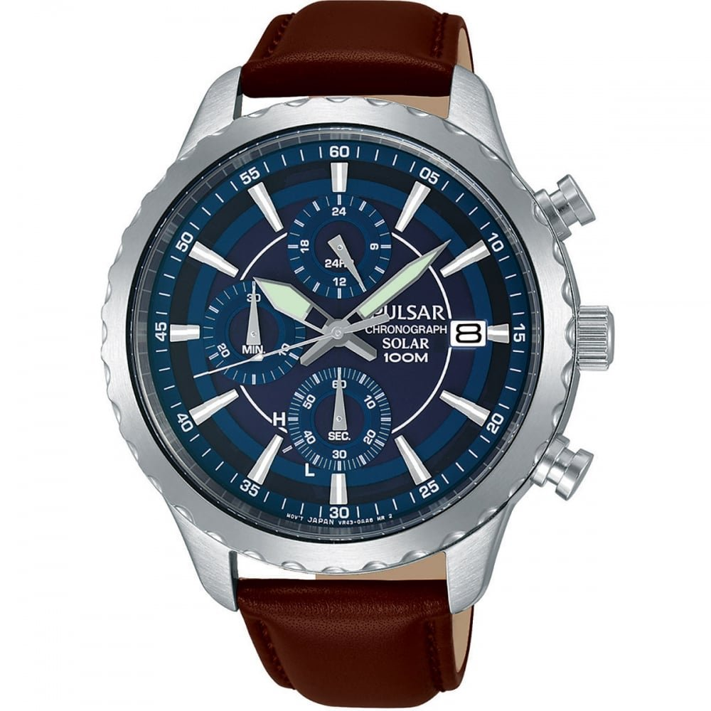 Pulsar Mens cadran bleu solaire chronographe brun bracelet en cuir PZ6015X1