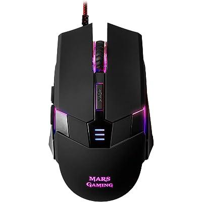Mars Gaming MM116, Ratón Gaming para PC (3200 DPI, RGB flow, 6 Botones, Ambidiestro), USB, Negro