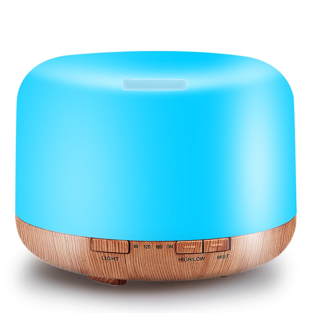 500ML Essential Oil Diffuser Humidifiers Ultrasonic Aromatherapy Diffusers Cool Mist Whisper-Quiet Humidifiers with Wood Grain Base 7 Color Changing Light and Water-less Auto Shut-Off for Home
