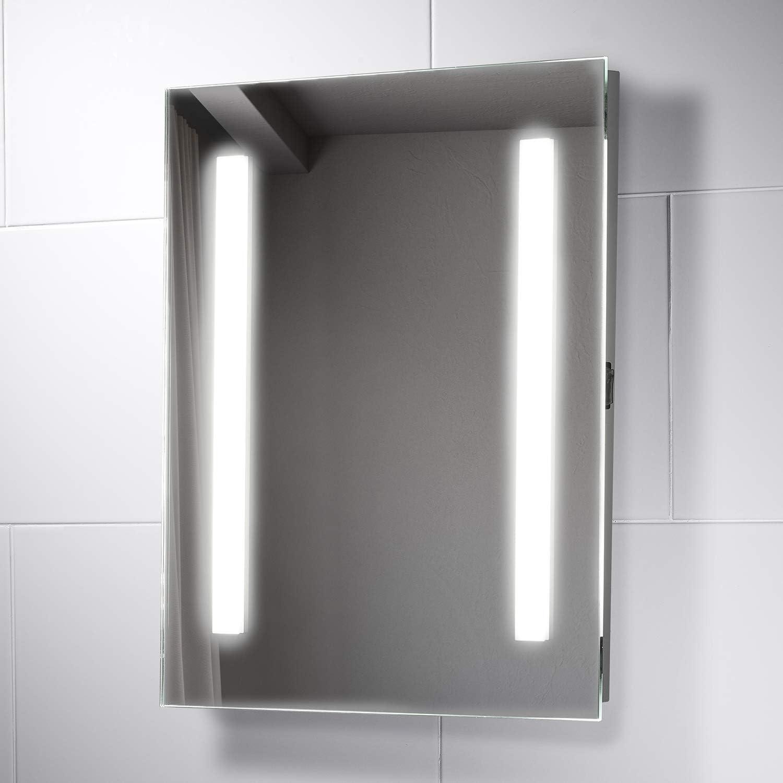 500 x 700 mm Pebble Grey Bailey LED Illuminated Bathroom Mirror with Shaver Socket