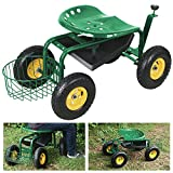 Alitop Green Rolling Garden Cart Work Seat With Heavy Duty Tool Tray Durable Planting