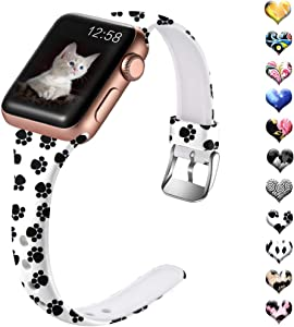 Henva Compatible with iWatch Band 40mm 38mm for Women, Fashion Soft Thin Wristband with Print Pattern for Apple Watch SE Series 6/5, Series 4, Series 3, Series 2, Series 1, Cat Paw Print Pattern, S/M