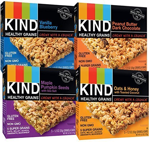KIND Healthy Whole Grains Granola Snack Bars, (Count 4) Variety Pack with Peanut Butter and Dark Chocolate, Vanilla Blueberry, Oats & Honey and Maple Pumpkin Seeds Flavors by KIND