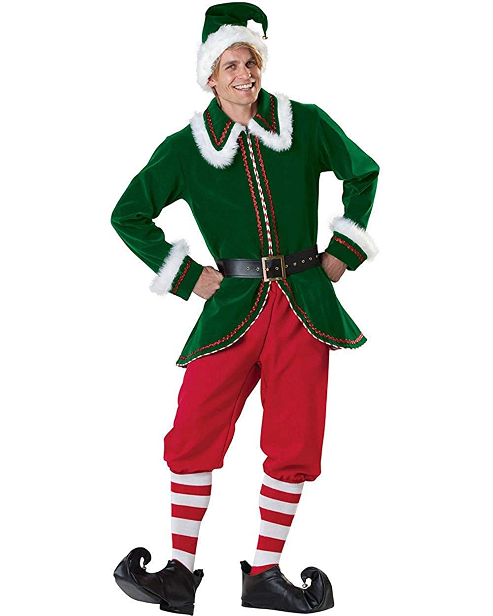 0a79402c3 Amazon.com: Viyor shop Mens' Elf Costumes Green Christmas Costume with Hat  Cosplay Suit: Clothing