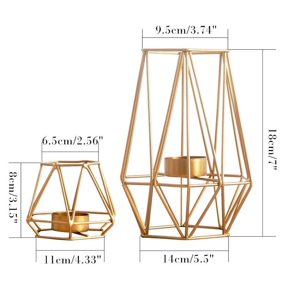Sfeexun Set of 2 Metal Hexagon Shaped Geometric Design Tea Light Votive Candle Holders-Iron Hollow Tealight Candle Holders for Vintage Wedding Home Decoration, Gold (S + L)