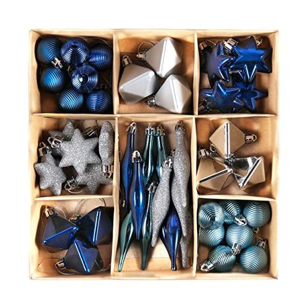 Valery Madelyn Palle di Natale 45 Pezzi di Palline di Natale, 3-4 cm Auguri Invernali Argento e Blu Infrangibili Ornamenti Palla di Natale Decorazione per la Decorazione Dell'Albero di Natale 1 spesavip