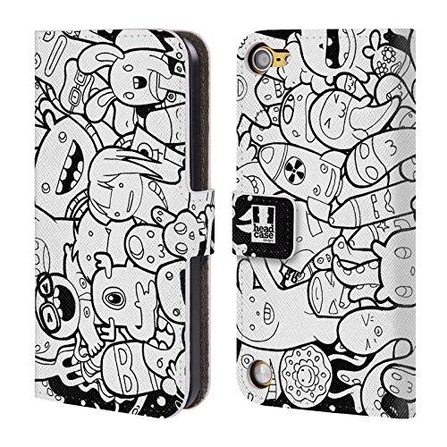 Head Case Designs Mostri E Alieni Esplosione Di Doodle Cover a portafoglio in pelle per iPod Touch 5th Gen / 6th Gen