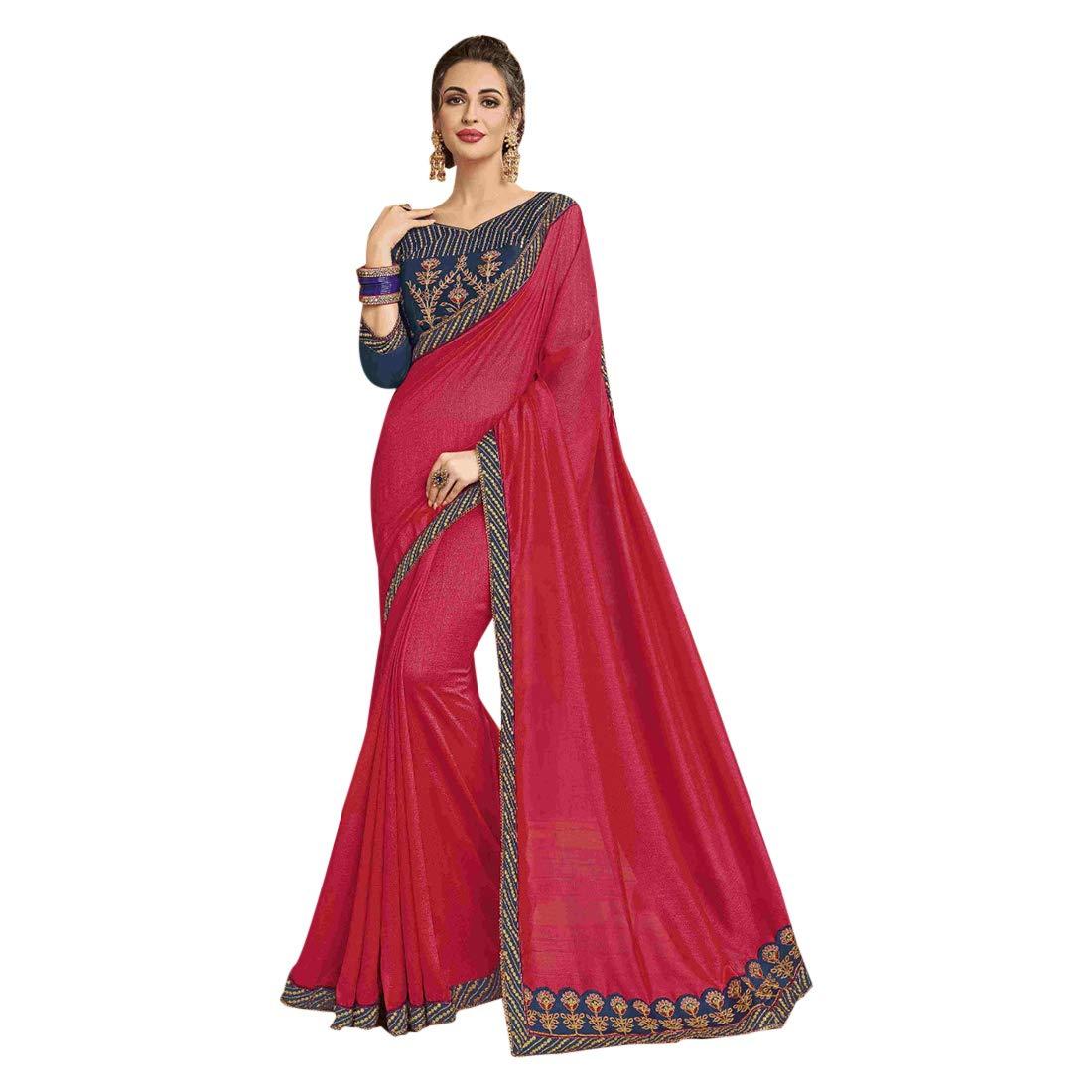 Crimson Hit Ethnic Designer Fancy Silk Sari with Blouse piece Indian Saree for Women Party wear 7761