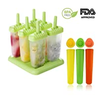 Ice Lolly Moulds   6 Cell Popsicle Ice Lolly Mould + 3 Silicone Mold  BPA Free & Reusable  Environmentally Friendly   Perfect for Children, Toddlers and Adults(9pack)