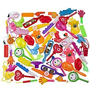 Whistle assortment of 60 valuable party favors kid noise makers for party's and events such as birthday party, school and classroom rewards, carnivals Etc. Made and sold Exclusively by Smart Novelty