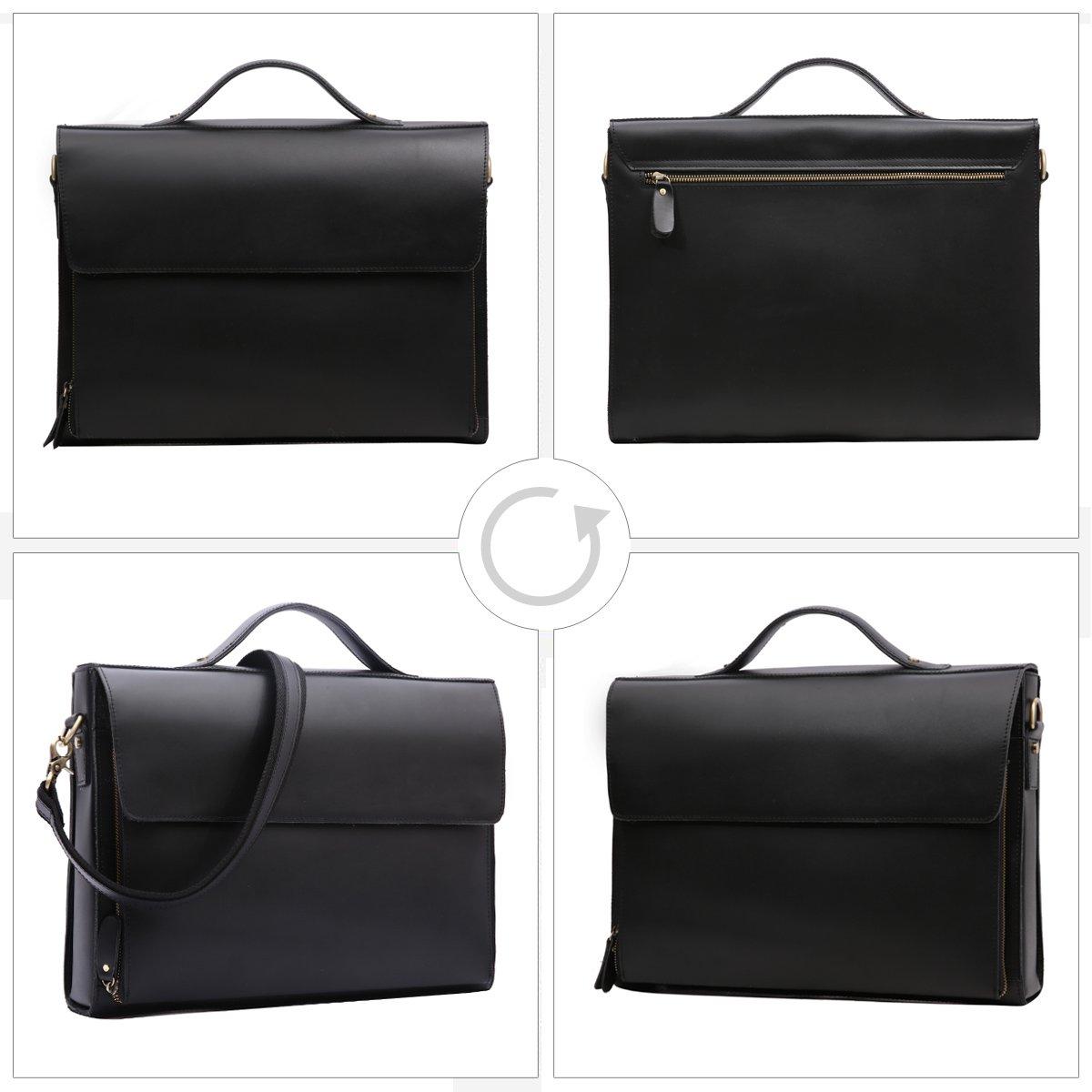 Leathario Leather Briefcase for Men Leather Laptop Bag Shoulder Messenger Bag Business Work Bag by Leathario (Image #2)