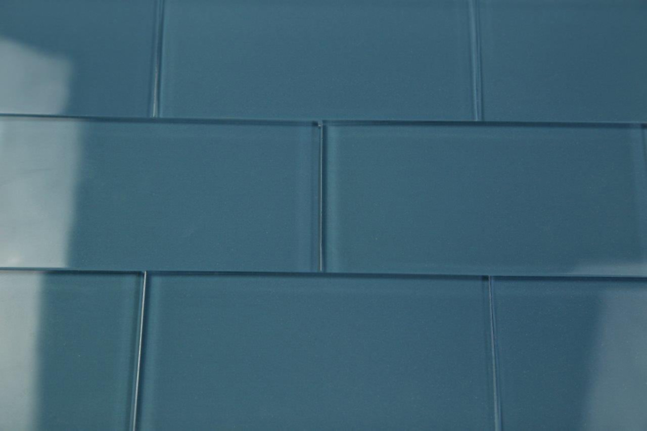 Dark Haven Blue Subway Glass Tile Hand Crafted And Custom Made