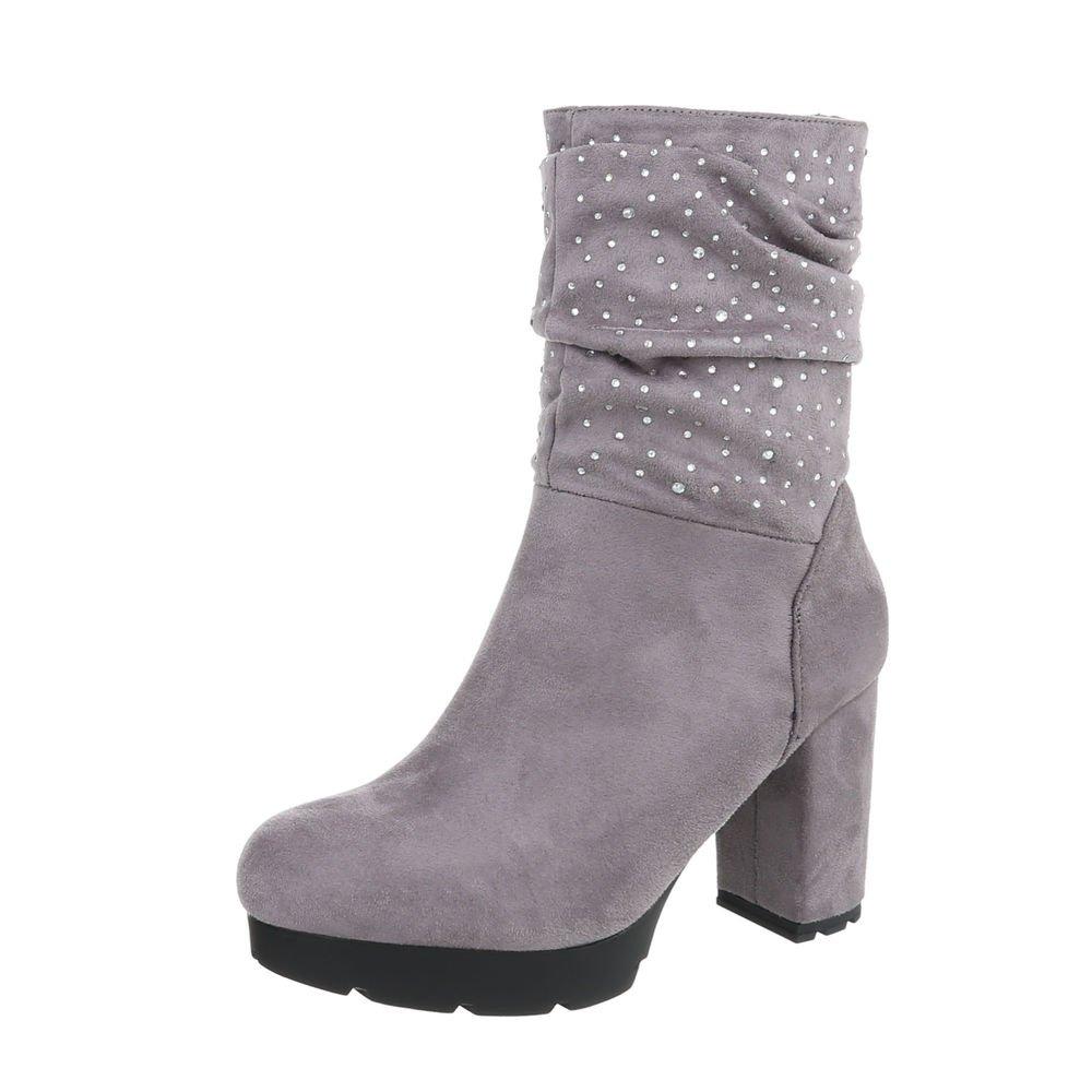 Ital-Design High Heel Stiefeletten Damenschuhe High Heel Stiefeletten Pump Strass Besetzte Reißverschluss Stiefeletten  39 EU|Grau
