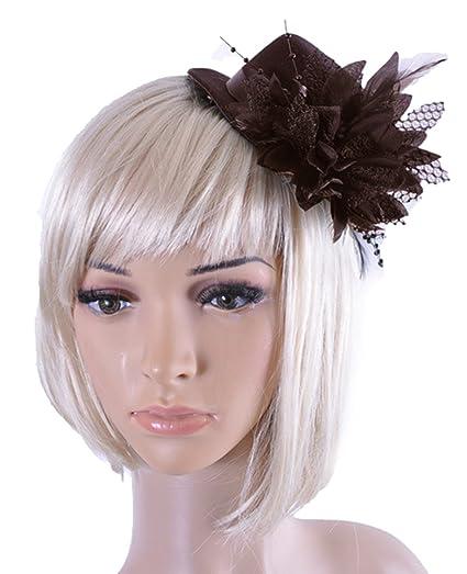 Spikerking Women s Fascinators Veil of Small Hat Hair Headdress Feathers  (One Size 4349eee6f30