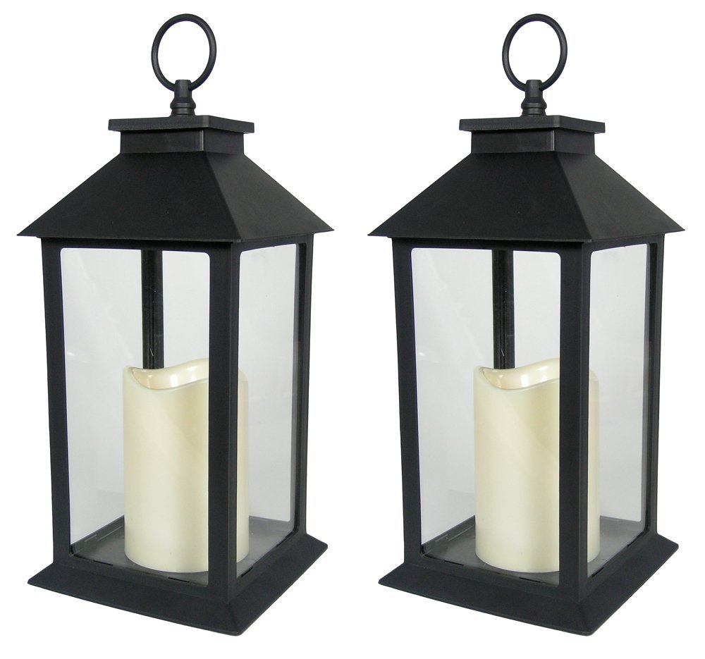 Black Decorative LED Lantern - LED Flickering Flameless Pillar Candle with 5 Hour Timer Included - Indoor/Outdoor Lantern - Set of 2-13''H