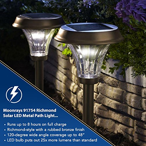 Moonrays 91754 Richmond Solar LED Metal Path Light, Rubbed Bronze (Pack of 2) by Moonrays (Image #3)