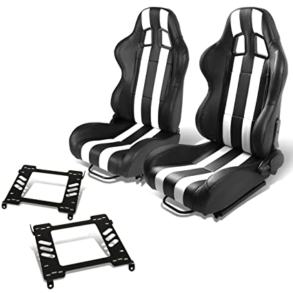 Amazon Com Pair Of Rs 019 Bk Wh Pvc Leather Reclinable Racing Seat