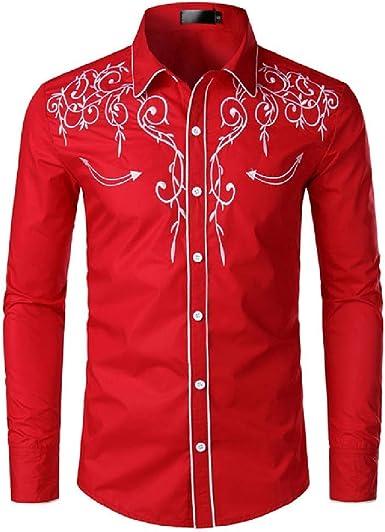 Camisa de Esmoquin roja con Bordado Floral Camisas de Vestir para Hombre de Manga Larga Delgada para Hombre Camisa de Fiesta de Boda de Homme para Hombres: Amazon.es: Ropa y accesorios