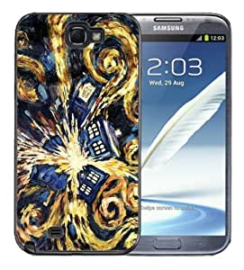 Samsung Galaxy Note 2 Black Rubber Silicone Case - Dr Who Tardis Phone Booth Van Gogh Painting Police Blue Call Box