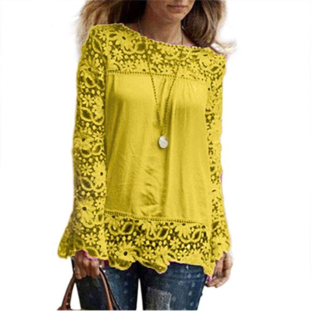 Women Plus Size Hollow Out Lace Splice Long Sleeve Shirt Casual Blouse Loose Top(Yellow,Small)