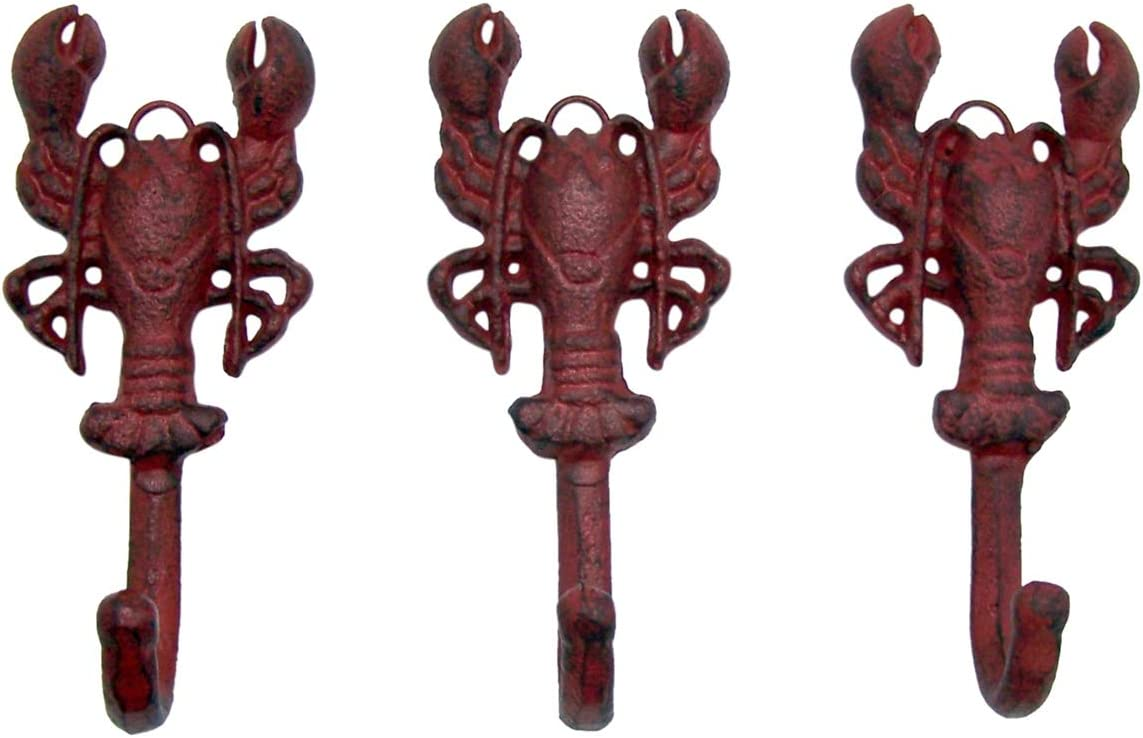 Rustic Red Cast Iron Lobster Wall Hooks Set Of 3 5 3 4 Inch Home Kitchen