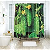 Waterproof Shower Curtain 3D Green Plants Drapes of Bathroom Toilet with Hooks,180 * 180Cm