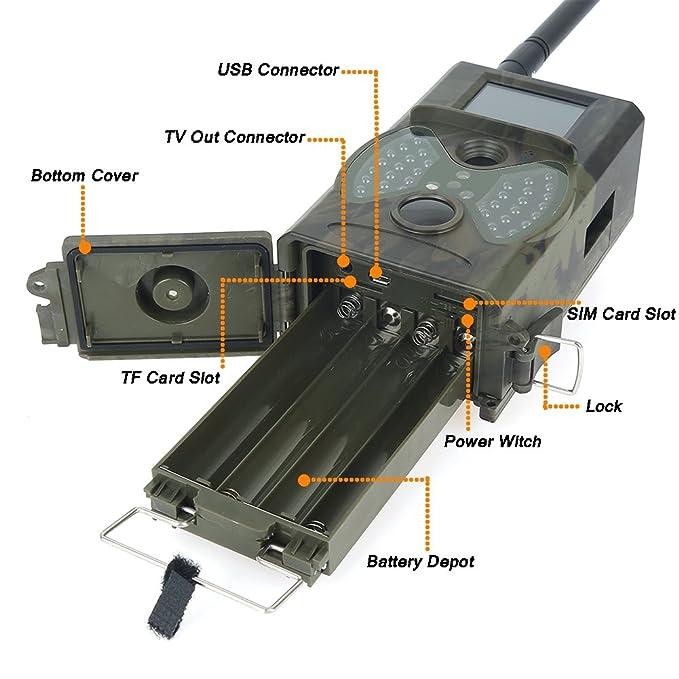 Vida Silvestre Cámara 2.0 pulgadas 12 MP 1080P HD Visión Nocturna por Infrarrojos PIR GSM/GPRS/MMS/SMS exterior IP54 impermeable Wildlife Trail Caza Cámara ...