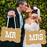 BESTIM INCUK MR and MRS Photo Booth Prop Chair Signs Wedding Reception Decorations