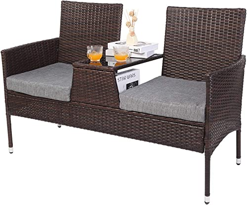 VINGLI Wicker Outdoor Loveseat