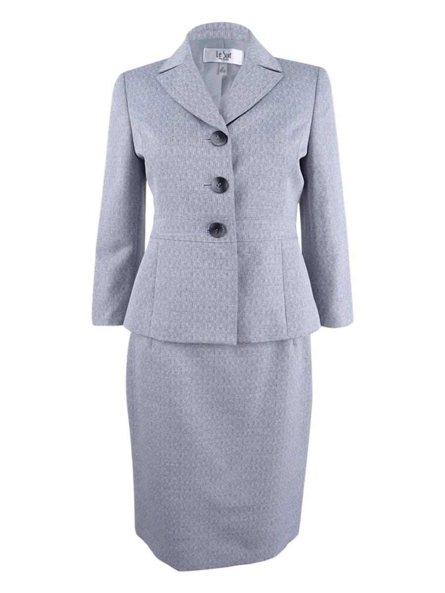 Le Suit Women's Petite Size Cross Dye 3 Button Skirt Suit, Grey, 2P